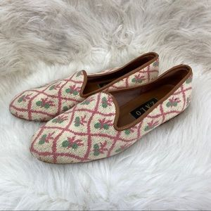 Zalo pink green embroidered shoes. 8.5M